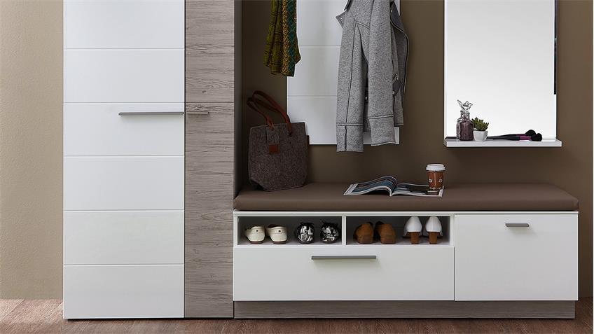 Garderobenset 2 DUO Garderobe in weiß Hochglanz und Taupe