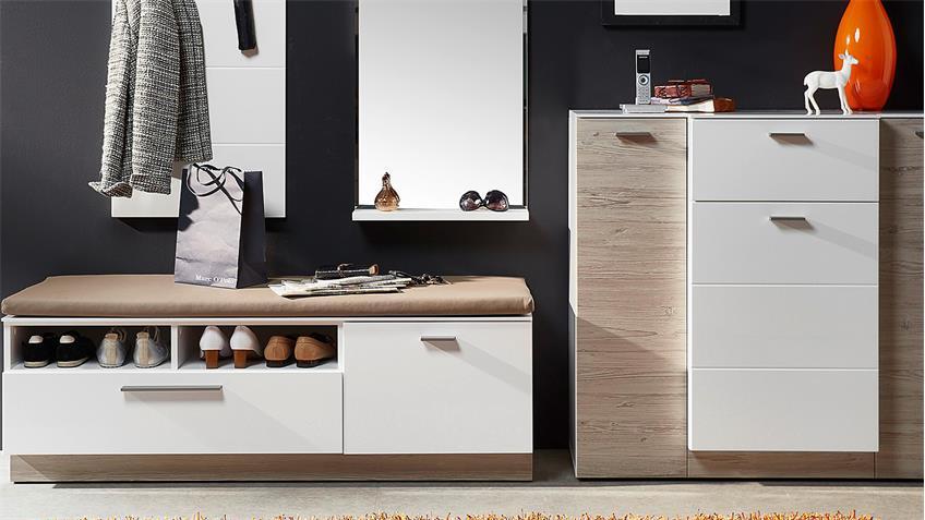 Garderobenset 3 DUO Garderobe in weiß Hochglanz und Taupe