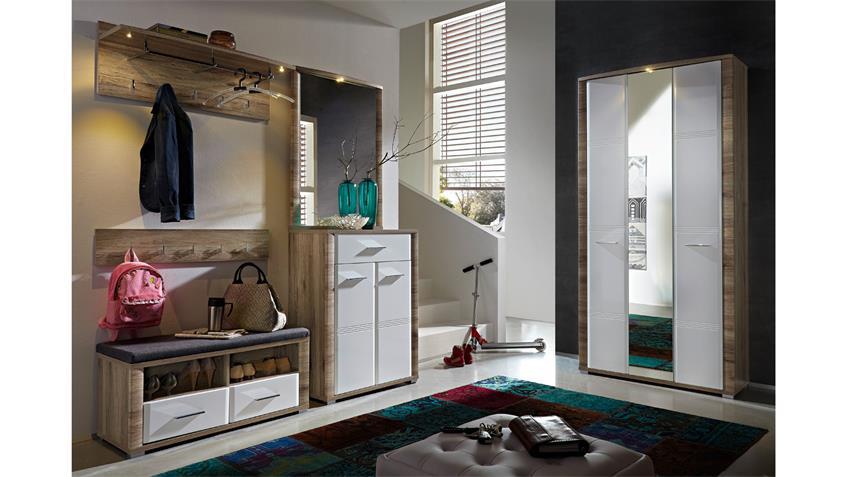 Spiegelschrank FLAME San Remo Eiche weiß Hochglanz mit LED