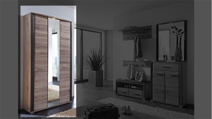 Spiegelschrank FLAME Schrank San Remo Eiche Schiefer mit LED