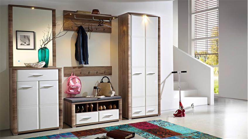 Garderobenschrank FLAME San Remo Eiche weiß Hochglanz LED