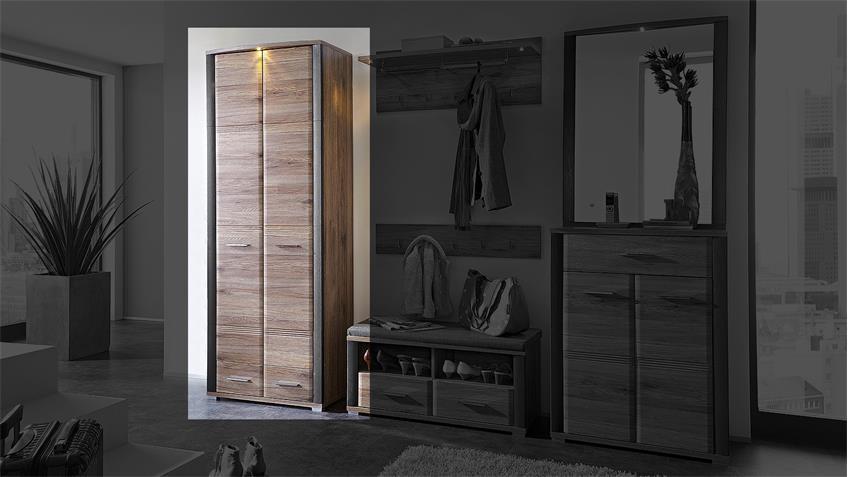 Garderobenschrank FLAME Schrank San Remo Eiche Schiefer LED