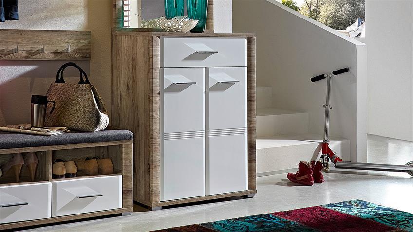 schuhschrank flame garderobe san remo eiche wei hochglanz. Black Bedroom Furniture Sets. Home Design Ideas