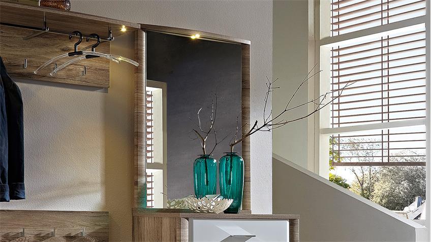 Spiegel FLAME Hängespiegel Wandspiegel San Remo Eiche LED