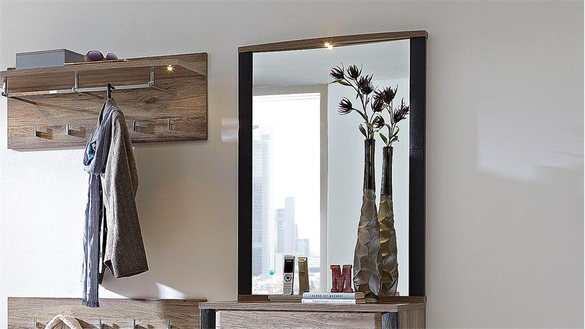 Spiegel FLAME Hängespiegel in San Remo Eiche Schiefer LED