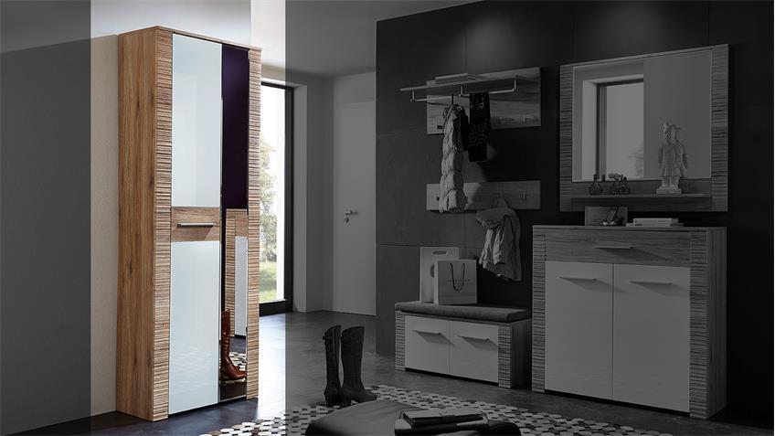 Garderobenschrank CONTEST X in weiß Hochglanz San Remo Eiche