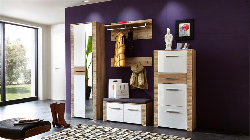 Garderobe 1 CONTEST X Set in weiß Hochglanz San Remo Eiche