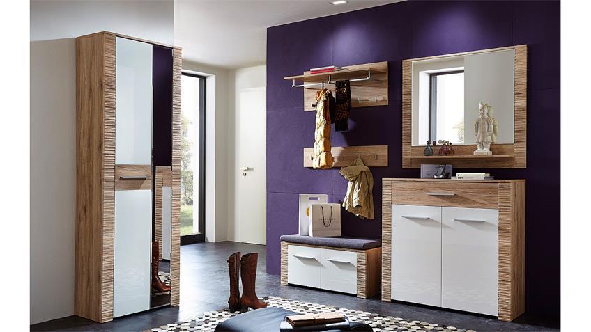 Garderobe 2 CONTEST X Set in weiß Hochglanz San Remo Eiche