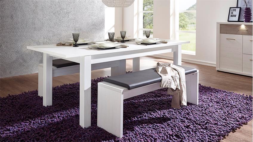 Esstisch BANKO Tisch Esszimmertisch in Pinie weiß 160-240