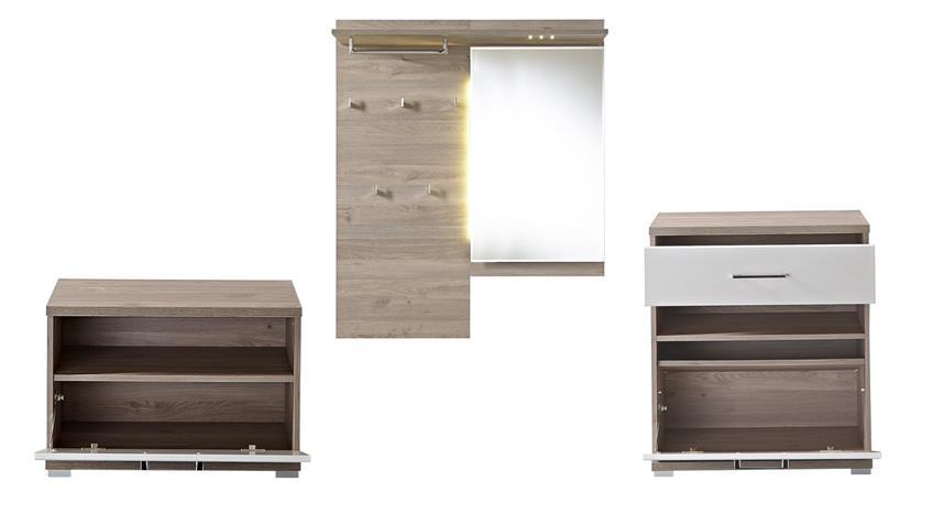 Garderobe Set 1 PLUS Flurmöbel weiß Silbereiche mit LED