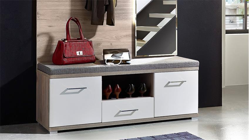 Garderobe Set 2 PLUS Flurmöbel weiß Silbereiche mit LED