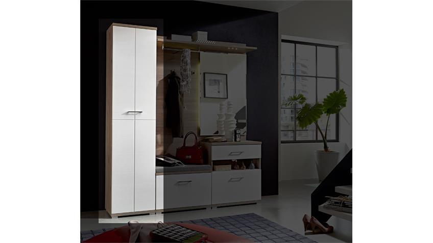 Garderobenschrank PLUS Flurmöbel in weiß und Silbereiche