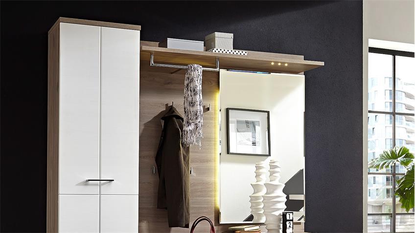 Garderobe Set 3 PLUS Flurmöbel weiß Silbereiche mit LED