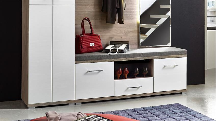 Garderobe Set 4 PLUS Flurmöbel weiß Silbereiche mit LED