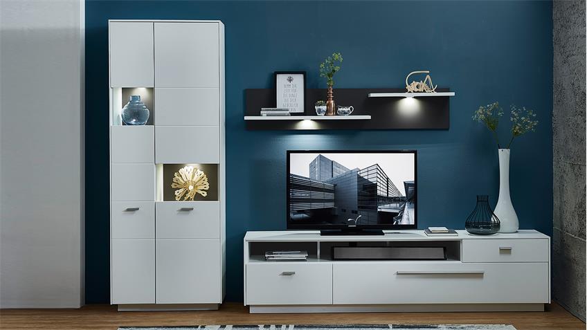 Vitrine TACOMAS Wohnzimmerschrank weiß grau matt mit LED