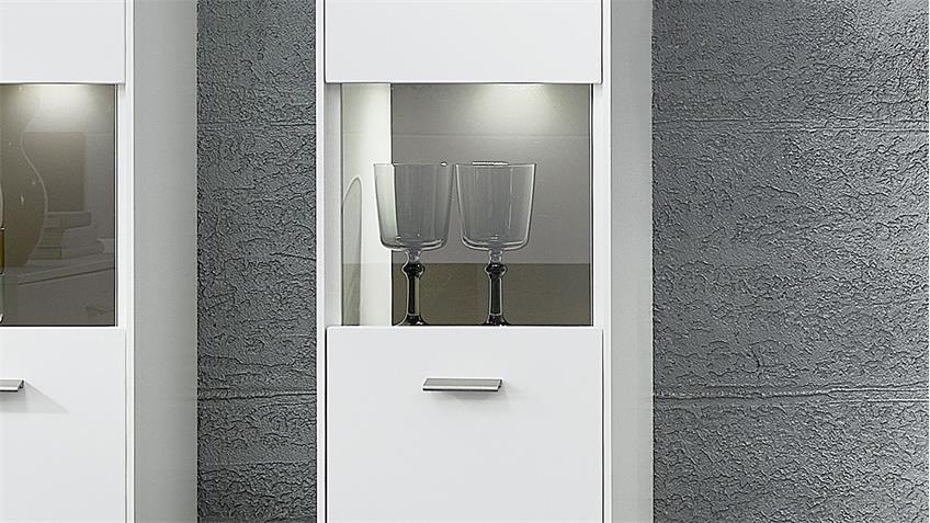 Hängevitrine TACOMAS Vitrine weiß grau matt mit LED 159