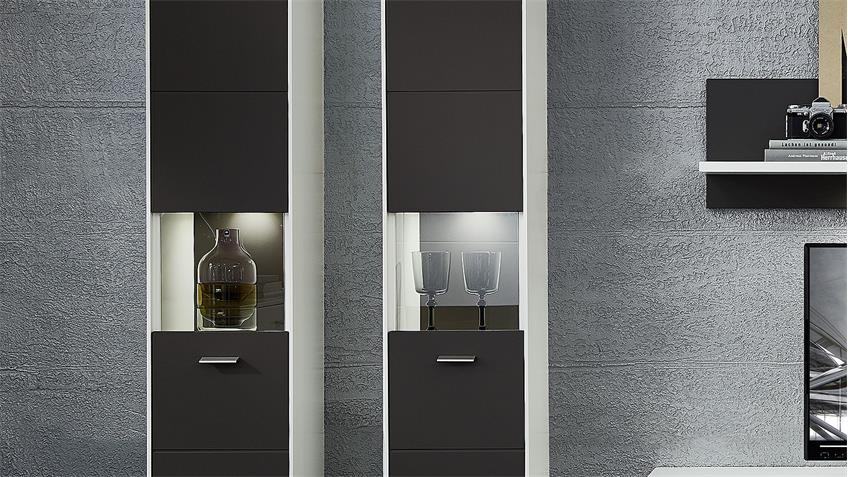 Hängevitrine TACOMAS Vitrine grau weiß matt mit LED 159