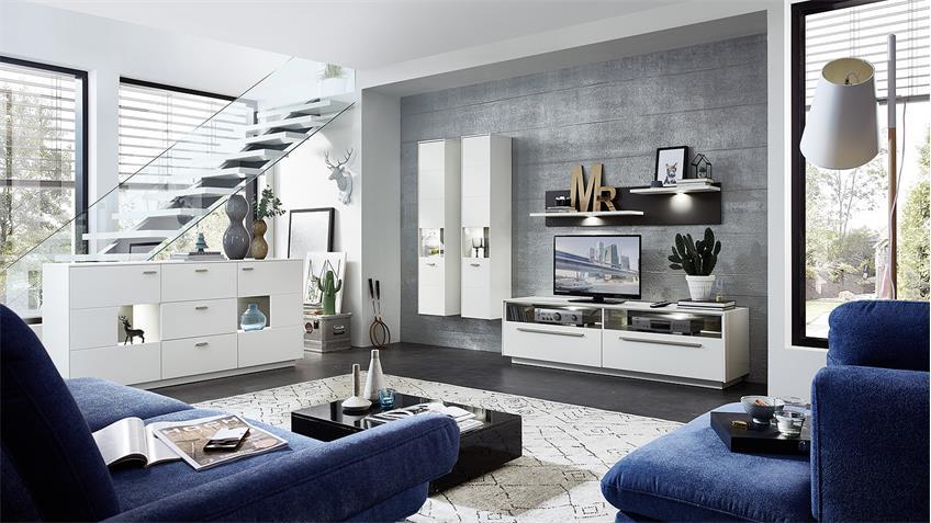 Sideboard TACOMAS Kommode Anrichte weiß grau matt LED