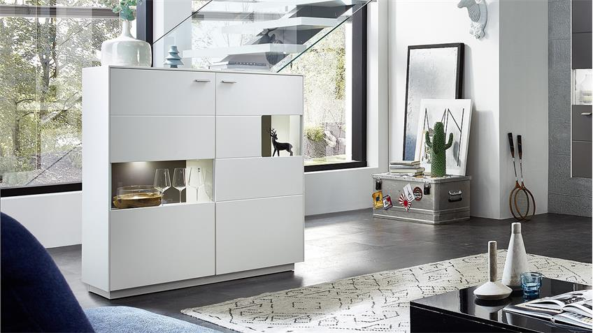 Highboard TACOMAS Sideboard Vitrine weiß grau matt LED