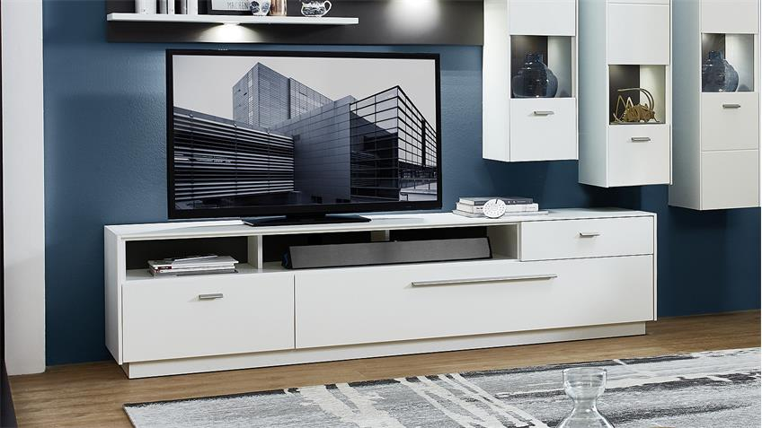 TV-Board TACOMAS Lowboard Unterschrank weiß grau matt 213