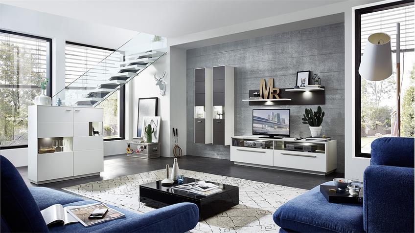 TV-Board TACOMAS Lowboard in weiß grau matt mit LED 183