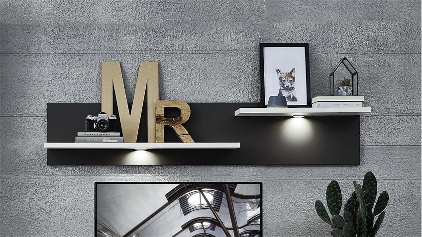 Wandboard TACOMAS Lowboard in weiß grau matt mit LED 150