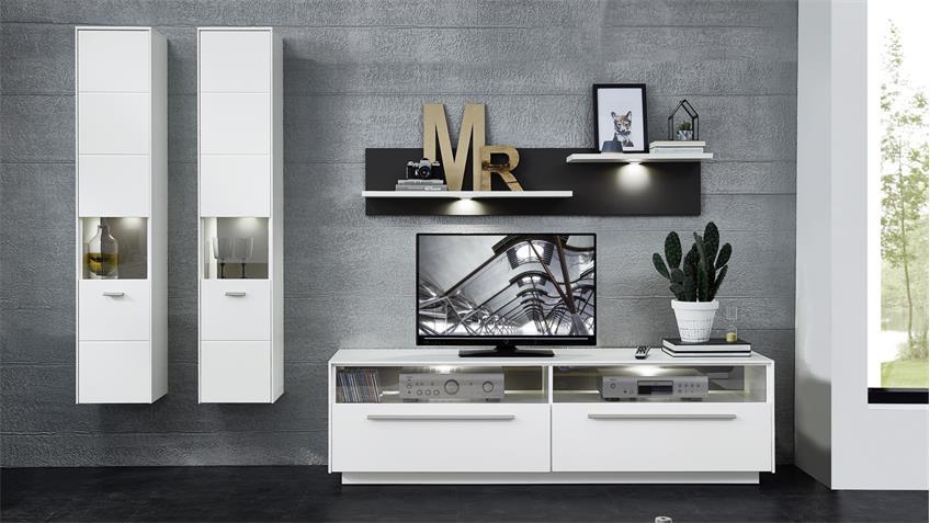 Wohnwand 1 TACOMAS Anbauwand in weiß grau matt mit LED