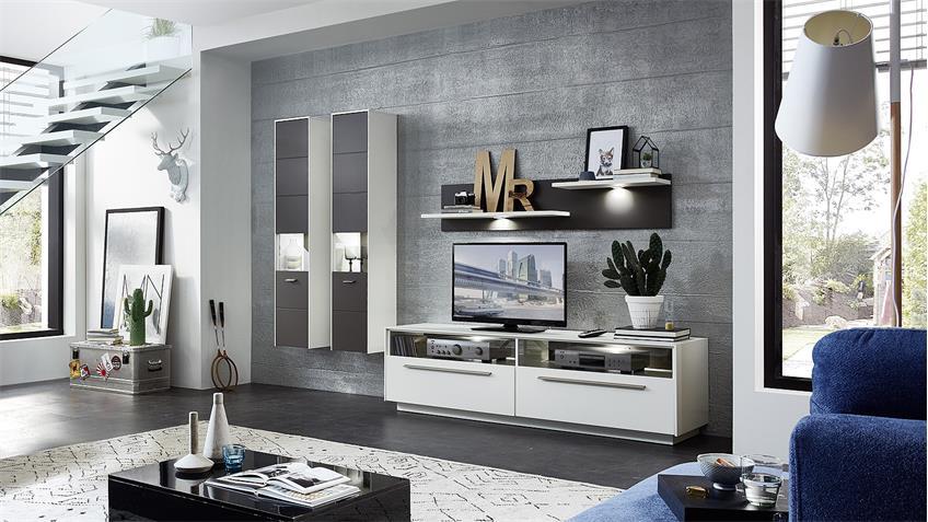 Wohnwand 1 TACOMAS Anbauwand in grau weiß matt mit LED