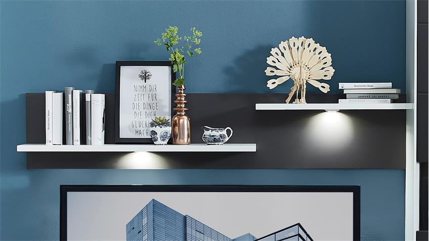 Wohnwand 2 TACOMAS Anbauwand in weiß grau matt mit LED