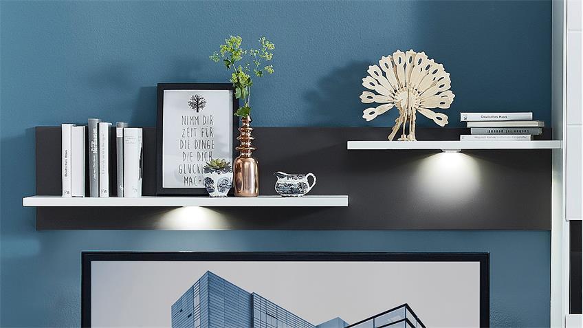 Wohnwand 2 TACOMAS Anbauwand in grau weiß matt mit LED