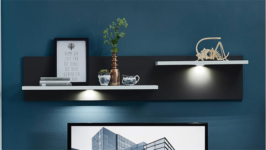 Wohnwand 3 TACOMAS Anbauwand in grau weiß matt mit LED
