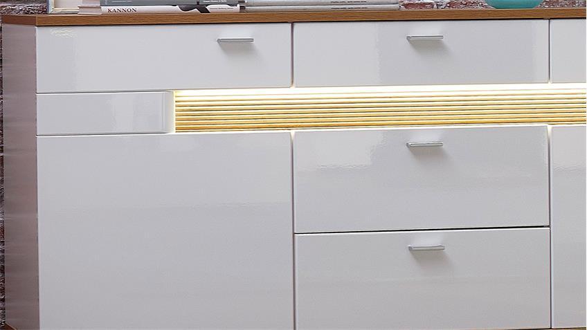 Sideboard MADISONS weiß Hochglanz matt Eiche hell mit LED