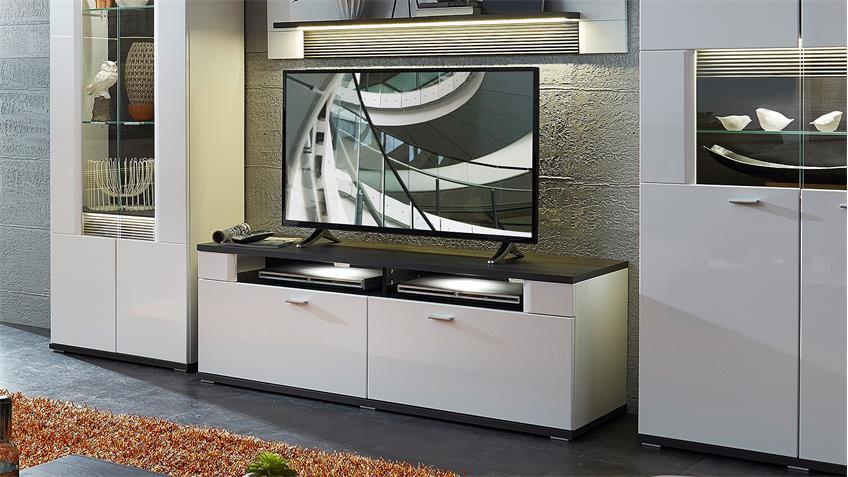 TV-Board MADISONS weiß Hochglanz matt und anthrazit LED 140