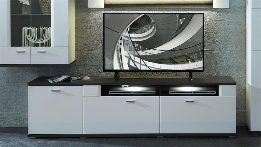 TV-Board MADISONS weiß Hochglanz matt und anthrazit LED 190