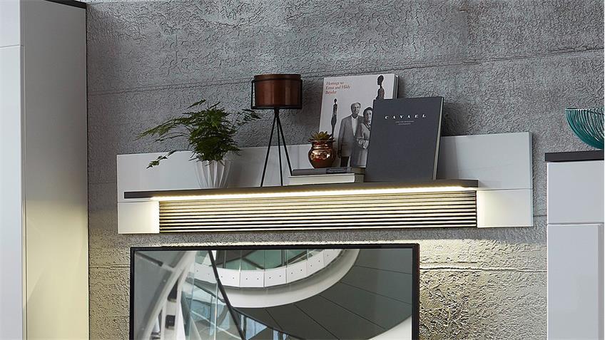 Wandboard MADISONS weiß Hochglanz matt und anthrazit LED