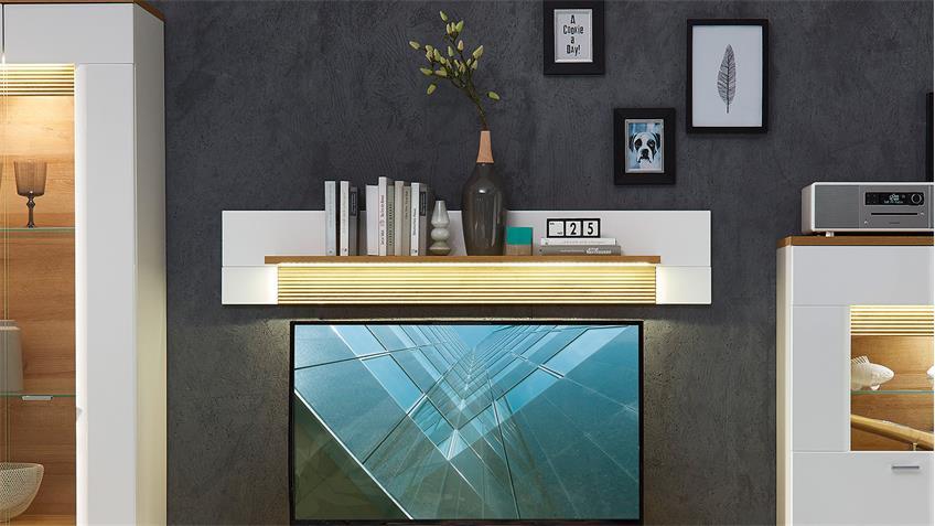 Wandboard MADISONS weiß Hochglanz matt und Eiche hell LED