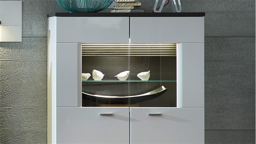Wohnwand 1 MADISONS weiß Hochglanz matt und anthrazit LED