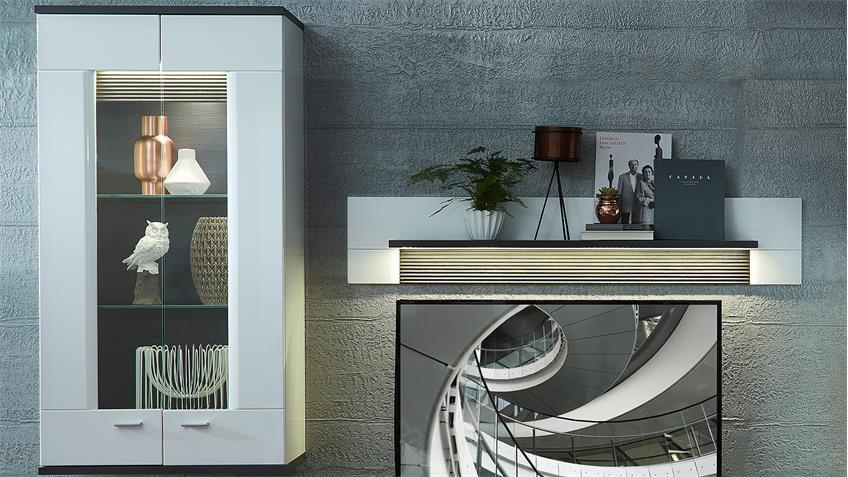 Wohnwand 2 MADISONS weiß Hochglanz matt und anthrazit LED