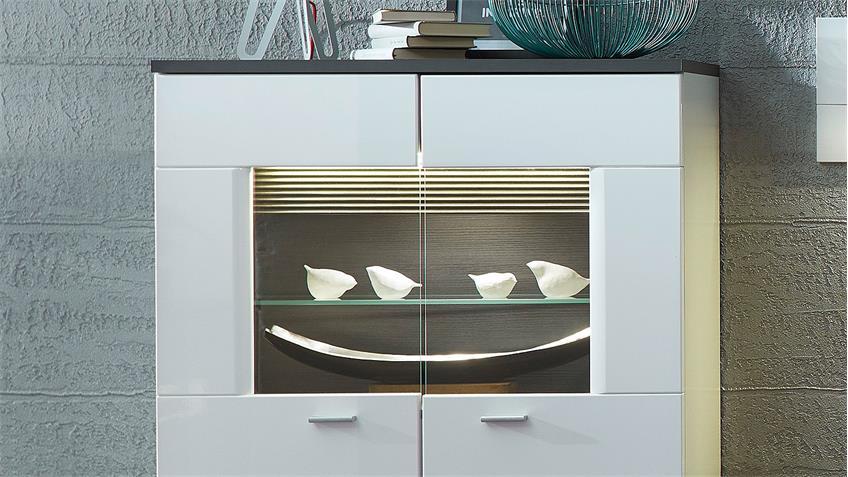 Wohnwand 3 MADISONS weiß Hochglanz matt und anthrazit LED