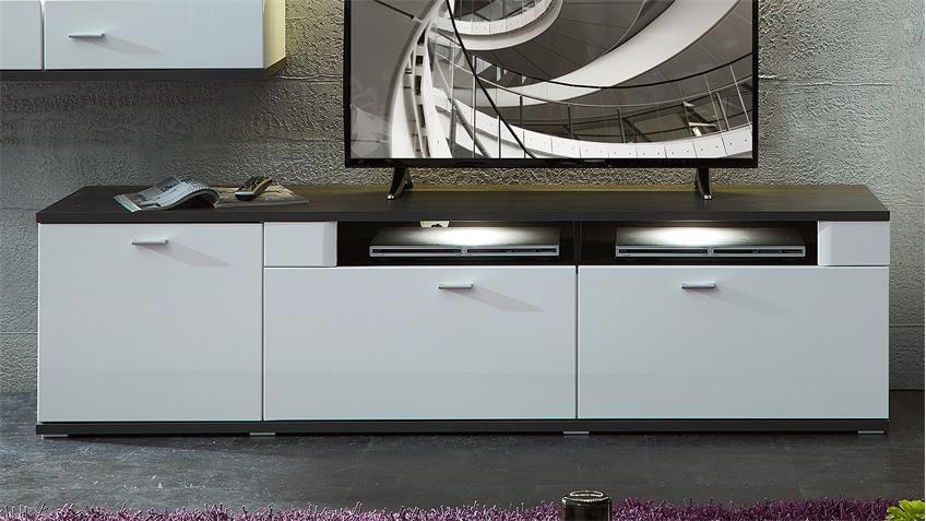 Wohnwand 4 MADISONS weiß Hochglanz matt und anthrazit LED
