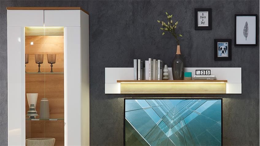 Wohnwand 1 MADISONS weiß Hochglanz matt und Eiche hell LED