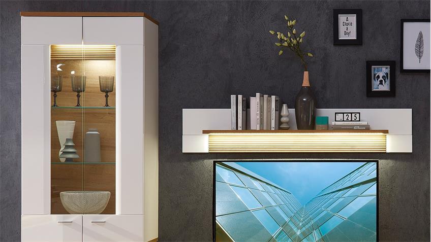 Wohnwand 2 MADISONS weiß Hochglanz matt und Eiche hell LED
