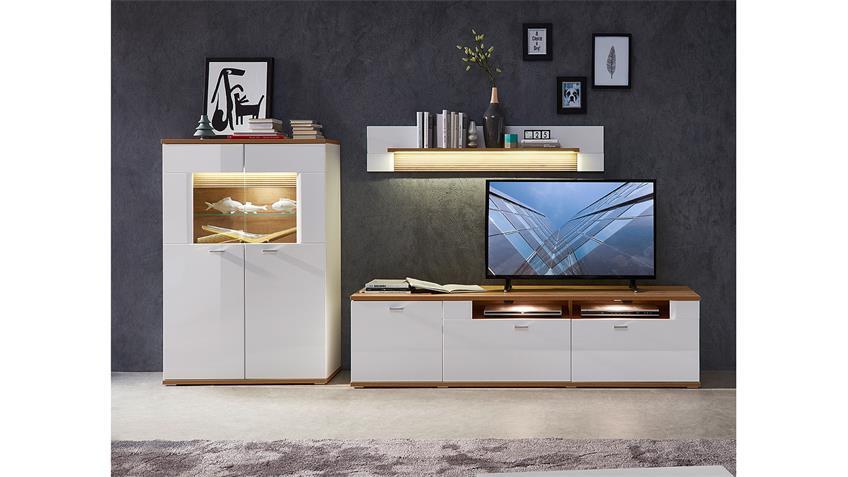 Wohnwand 3 MADISONS weiß Hochglanz matt und Eiche hell LED