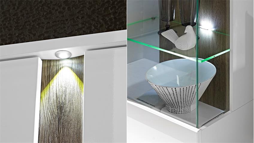 Wohnwand Malibu 2 weiß Hochglanz mit LED-Beleuchtung