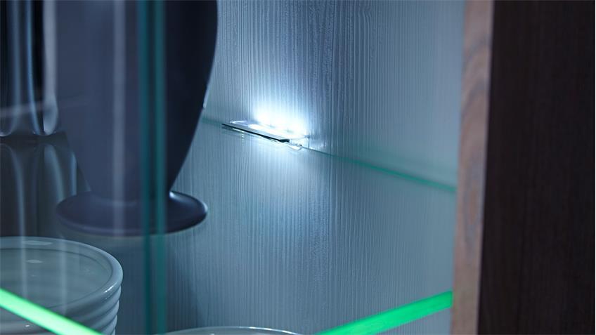 Wohnwand Landhausstil Malibu 2 Silbereiche mit LED Beleuchtung