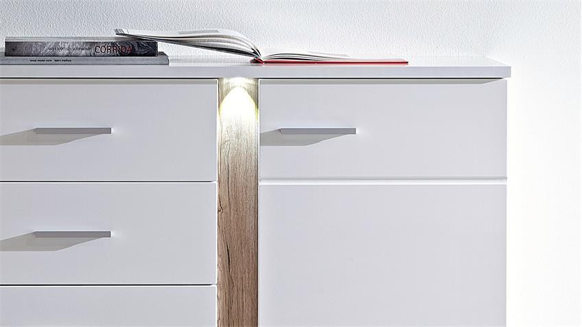 Sideboard Kommode Malibu Hochglanz Weiss mit LED Beleuchtung