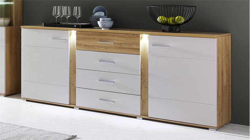 sideboard spurt mit led anrichte champagner wei und eiche hell. Black Bedroom Furniture Sets. Home Design Ideas