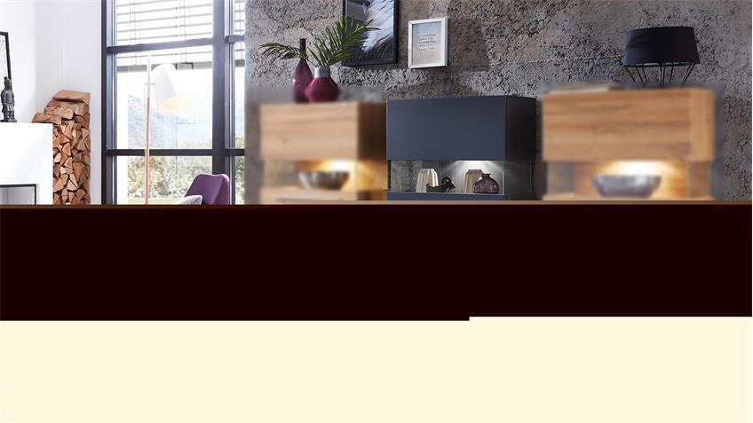 Vitrine BRIGG Standvitrine Schrank in graphit supermatt mit LED 60x124
