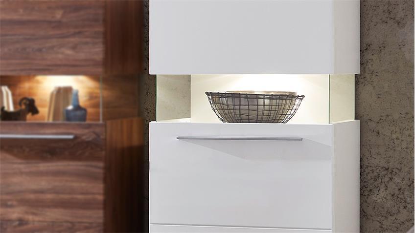 Vitrine BRIGG Standvitrine Schrank in weiß supermatt mit LED 60x124