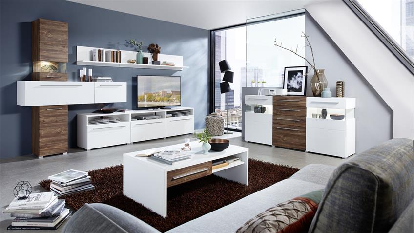 Sideboard BRIGG Anrichte in weiß supermatt und Akazie dunkel mit LED